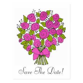pink bouquet, Save The Date! Postcard