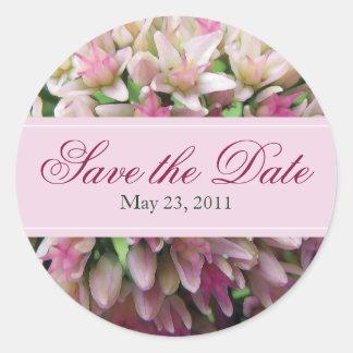 Pink Bouquet Save the Date Sticker in Burgundy