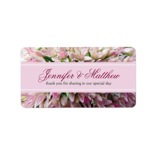 Pink Bouquet Thank You Wedding Label in Burgundy