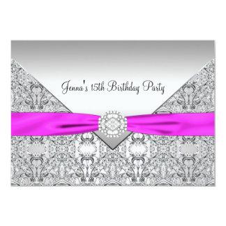 "Pink Bow 15th Quinceanera Birthday Party Invitatio 5"" X 7"" Invitation Card"