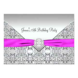 Pink Bow 15th Quinceanera Birthday Party Invitatio Card