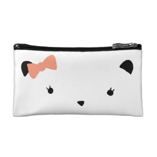 Pink Bow Bear Makeup Bag