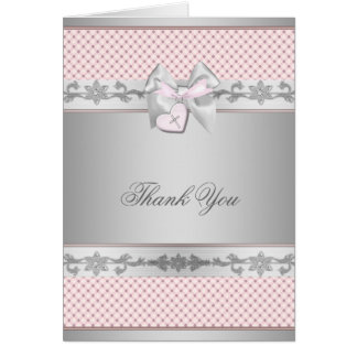Pink Bow Cross Girls Baptism Christening Thank You Card
