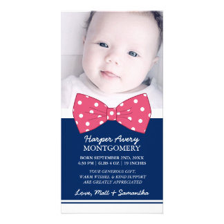 Pink Bow Custom Photo Baby Shower Thank You Photo Cards