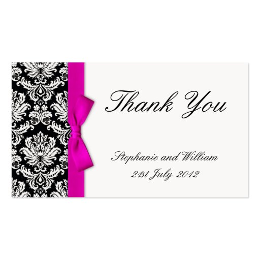 Pink Bow Damask Wedding Thank You Card Business Card