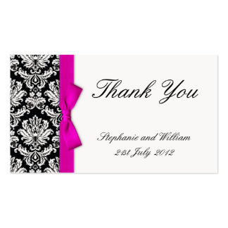 Pink Bow Damask Wedding Thank You Card Pack Of Standard Business Cards