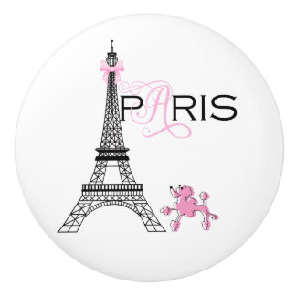 Pink Bow Eiffel Tower Paris France Poodle Chic Ceramic Knob