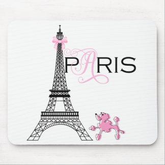 Pink Bow Eiffel Tower Paris France Poodle Chic Mouse Pad
