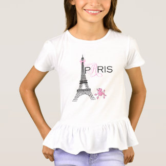 Pink Bow Eiffel Tower Paris France Poodle Chic T-Shirt