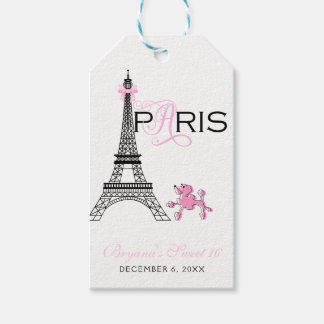 Pink Bow Eiffel Tower Paris France Poodle Party Gift Tags