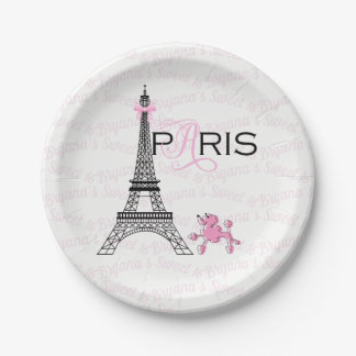 Pink Bow Eiffel Tower Paris France Poodle Party Paper Plate