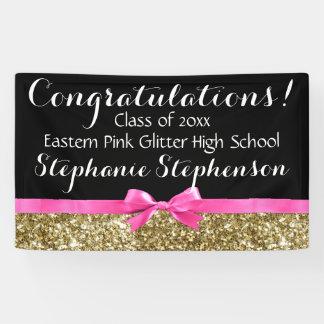 Pink Bow Gold Glitter Girls Graduation Party Banner