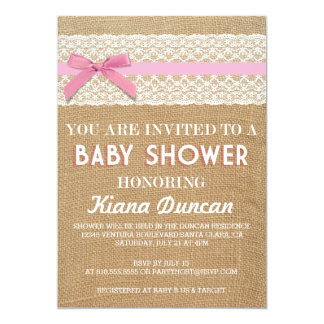 Pink Bow Lace Burlap Baby Shower Invitation