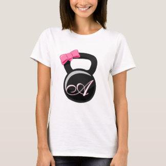 """Pink Bow Monogrammed Kettlebell """"A"""" T-Shirt"""
