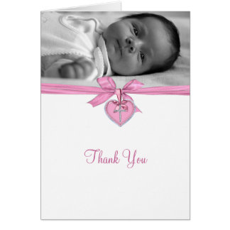 Pink Bow Photo Christening Thank You Cards