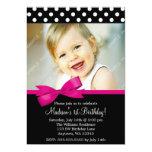 "Pink Bow Polka Dots 1st Birthday Girl Photo 5"" X 7"" Invitation Card"