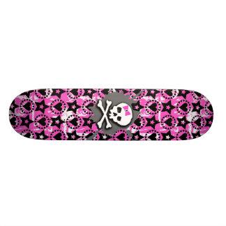 Pink Bow Skull Skateboard