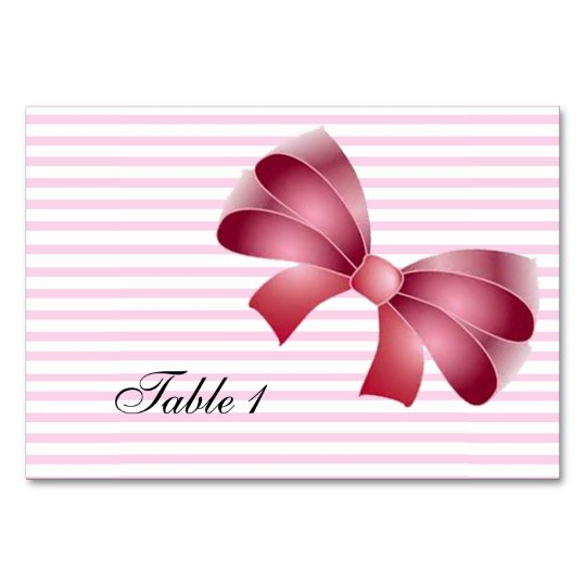 PINK BOW WEDDING RECEPTION TABLE CARD