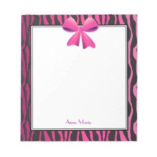 Pink Bow with Black Zebra Stripes Notepad