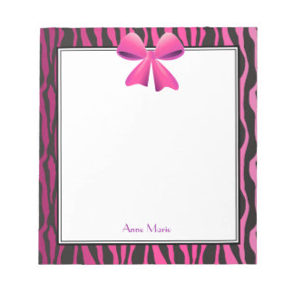 Pink Bow with Black Zebra Stripes Notepads