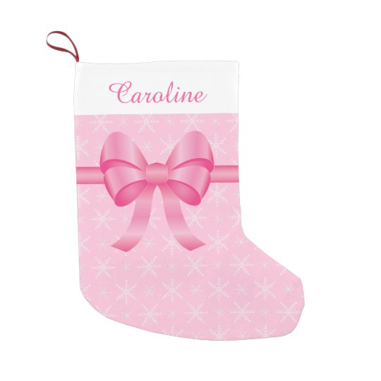 Pink Bow With Custom Name Small Christmas Stocking