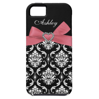Pink Bow with Damask and First Name iPhone Case