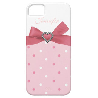 Pink Bow with Jewel Print Polka Dot iPhone Case