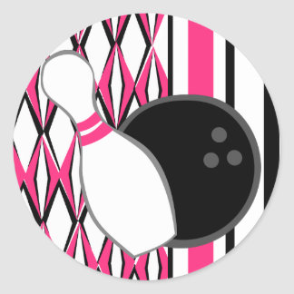 Pink Bowling Party Round Sticker