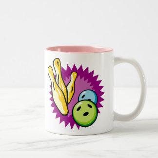 Pink Bowling Two-Tone Coffee Mug