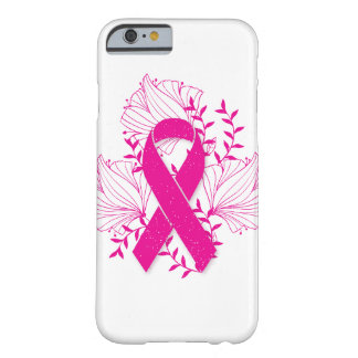 Pink Breast Cancer awareness ribbon flower outline Barely There iPhone 6 Case