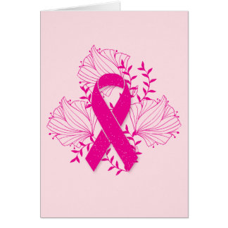 Pink Breast Cancer awareness ribbon flower outline Card
