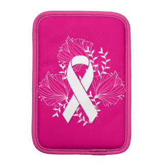Pink Breast Cancer awareness ribbon flower outline iPad Mini Sleeves