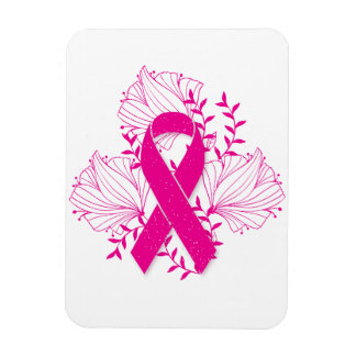 Pink Breast Cancer awareness ribbon flower outline Rectangular Photo Magnet