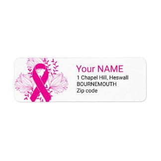 Pink Breast Cancer awareness ribbon flower outline Return Address Label