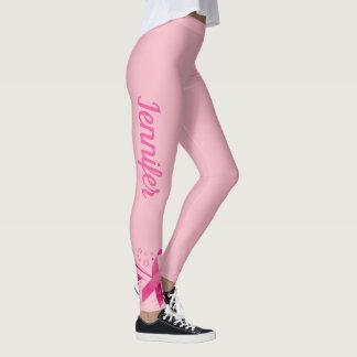 Pink Breast Cancer Support Ribbon Leggings NAME