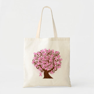 Pink breast cancer tree Budget Tote
