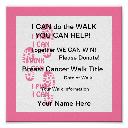 Pink Breast Cancer Walker Pink I Can  Poster