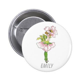 Pink Briar Rose Flower Floral Funny Cute Girl 2 Inch Round Button