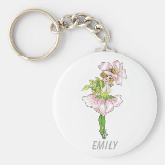 Pink Briar Rose Flower Floral Funny Cute Girl Keychain