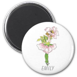 Pink Briar Rose Flower Floral Funny Cute Girl Magnet