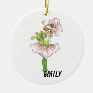 Pink Briar Rose Flower Floral Funny Cute Girl Round Ceramic Ornament