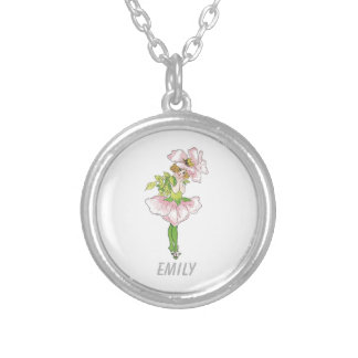 Pink Briar Rose Flower Floral Funny Cute Girl Silver Plated Necklace