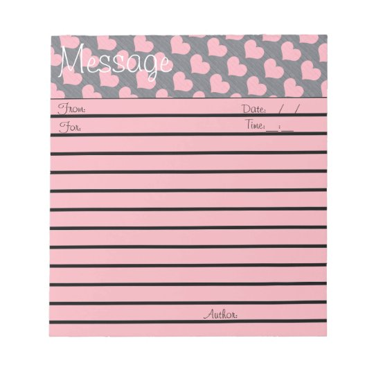 Pink Brick Heart Small Message Pad