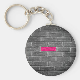 Pink Brick In A Black & White Wall Basic Round Button Keychain