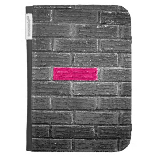 Pink Brick In A Black & White Wall Kindle Case