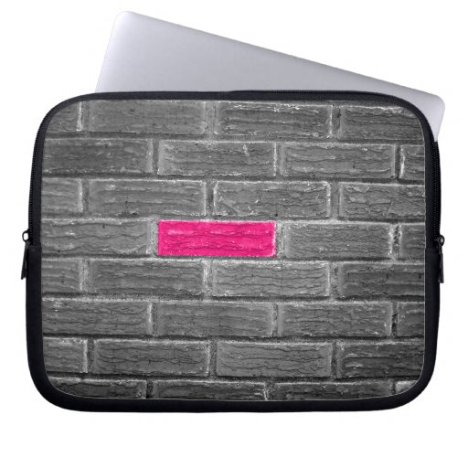 Pink Brick In A Black & White Wall Laptop Computer Sleeve