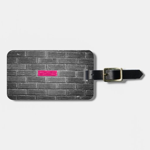 Pink Brick In A Black & White Wall Travel Bag Tag