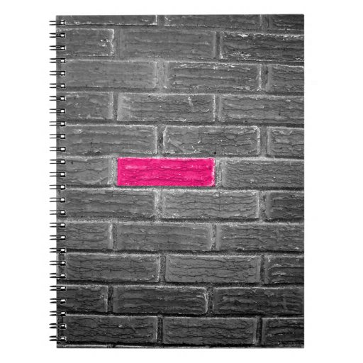 Pink Brick In A Black & White Wall Spiral Note Books