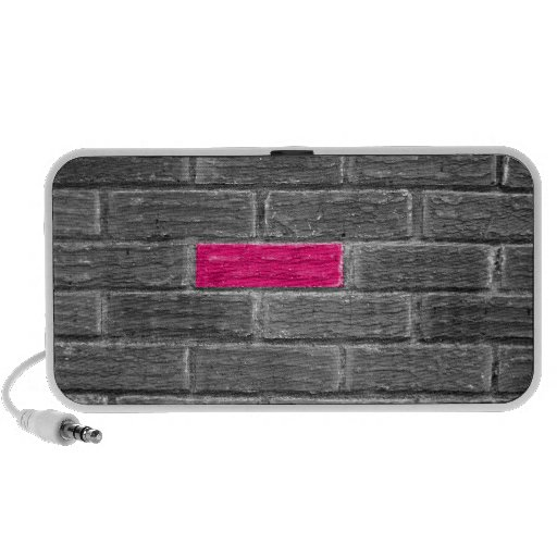 Pink Brick In A Black & White Wall Mini Speaker