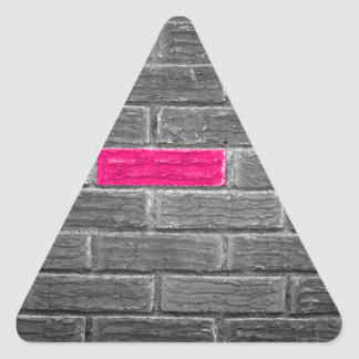 Pink Brick In A Black & White Wall Triangle Sticker